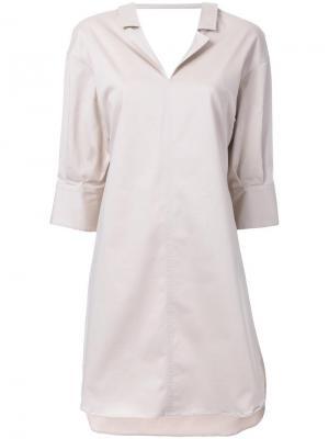 Платье-рубашка Maison Mihara Yasuhiro. Цвет: коричневый