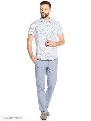 Рубашка Oodji. Цвет: синий, голубой, белый