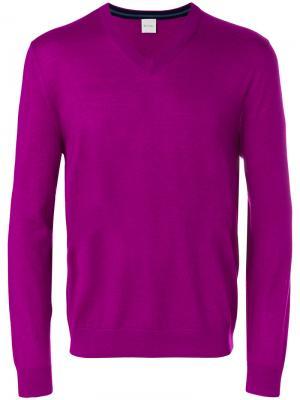 Свитер с V-образным вырезом Paul Smith. Цвет: розовый и фиолетовый