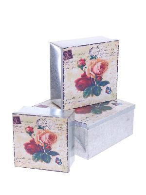 Набор коробок Цветы ,3 штук DAVANA. Цвет: розовый