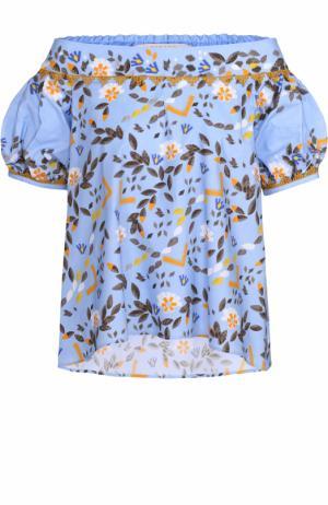 Топ прямого кроя с цветочным принтом и открытыми плечами Peter Pilotto. Цвет: голубой