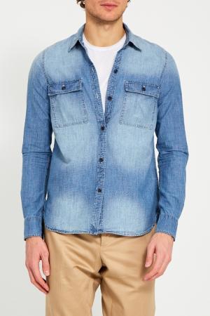 Джинсовая рубашка True Religion. Цвет: голубой