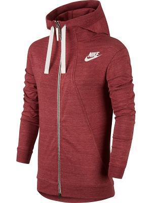 Толстовка W NSW GYM CLC HOODIE FZ Nike. Цвет: красный
