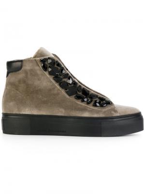Кроссовки на шнуровке с украшением из камней Kennel&Schmenger. Цвет: серый