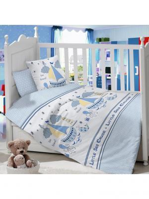 Комплект постельного белья в детскую кроватку из сатина (простыня на резинке) Ивбэби. Цвет: голубой, молочный