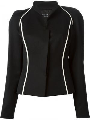 Пиджак с контрастной окантовкой Jean Louis Scherrer Vintage. Цвет: чёрный