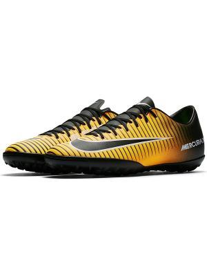 Бутсы MERCURIALX VICTORY VI TF Nike. Цвет: оранжевый, черный