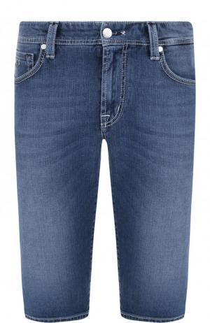 Джинсовые шорты с контратсной прострочкой Sartoria Tramarossa. Цвет: синий