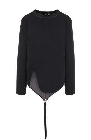 Пуловер с круглым вырезом из смеси шерсти и хлопка Proenza Schouler. Цвет: черный