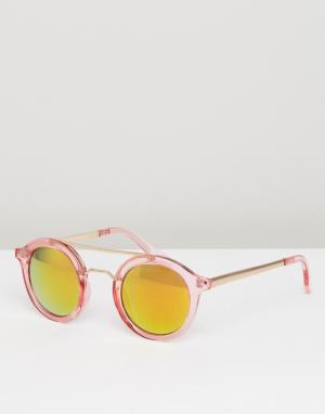 AJ Morgan Розовые круглые солнцезащитные очки с зеркальными стеклами. Цвет: розовый