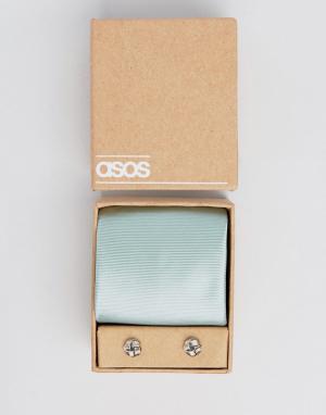 ASOS Светло-бирюзовый галстук и запонки Wedding. Цвет: зеленый