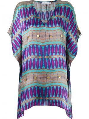 V-neck printed beach dress Brigitte. Цвет: розовый и фиолетовый
