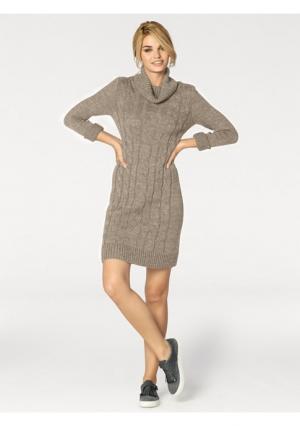 Платье Rick Cardona. Цвет: бежевый меланжевый, серый меланжевый
