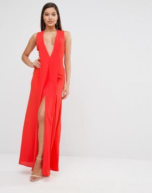 AQ Платье макси с глубоким вырезом AQ/AQ Hayes. Цвет: красный
