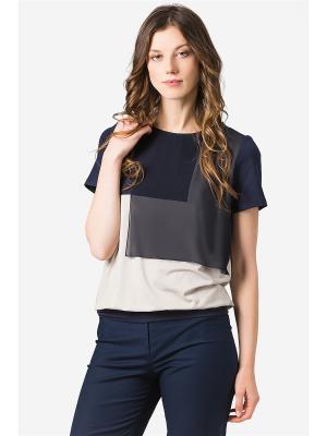 Блузка HELMIDGE. Цвет: синий, бежевый
