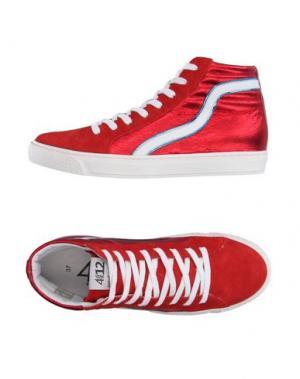 Высокие кеды и кроссовки QUATTROBARRADODICI. Цвет: красный