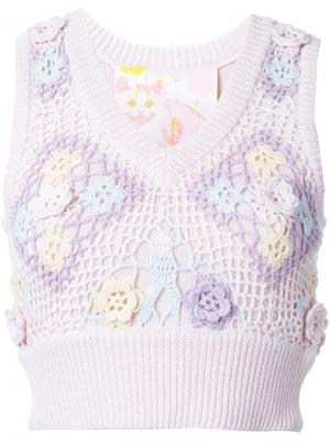 Вязаный топ с вышивкой Mikio Sakabe. Цвет: розовый и фиолетовый