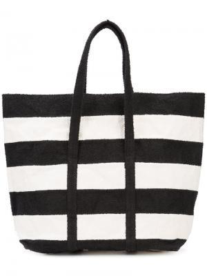 Полосатая сумка-шоппер Zilla. Цвет: чёрный