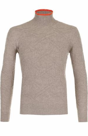Водолазка фактурной вязки из смеси шерсти и кашемира Cortigiani. Цвет: бежевый