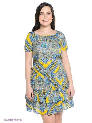 Платье Finn Flare. Цвет: синий, голубой, желтый