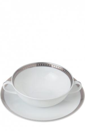 Пиала для супа с блюдцем Malmaison Christofle. Цвет: бесцветный