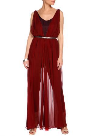 Длинное просвечивающиеся платье с ремнем MANGO. Цвет: 76 гранатовый, терракотовый