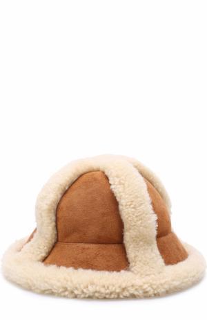Шляпа с отделкой из овчины Acne Studios. Цвет: коричневый