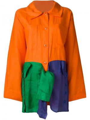 Легкое пальто свободного кроя Jc De Castelbajac Vintage. Цвет: жёлтый и оранжевый