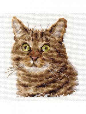 Европейский кот 11х12 см Алиса. Цвет: зеленый, коричневый, светло-коричневый, светло-серый