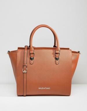 Valentino by Mario Светло-коричневая сумка-тоут. Цвет: рыжий