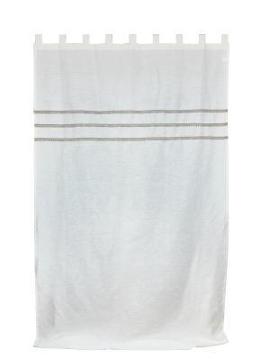 Штора льняная белая с кружевом Сабрина 145*260 IZKOMODA. Цвет: белый, серый