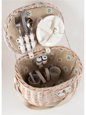 Набор для пикника на 2 персоны Русские подарки. Цвет: бежевый, белый