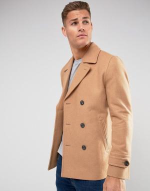 ASOS Полушерстяное пальто‑бушлат. Цвет: рыжий