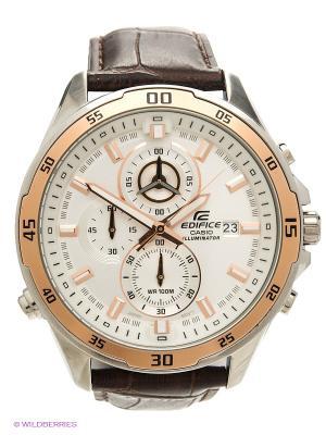 Часы EDIFICE CASIO. Цвет: белый, коричневый