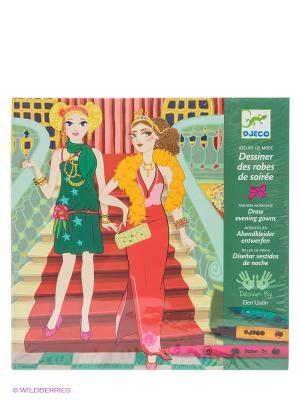 Раскраска Вечерние платья DJECO. Цвет: зеленый, оранжевый