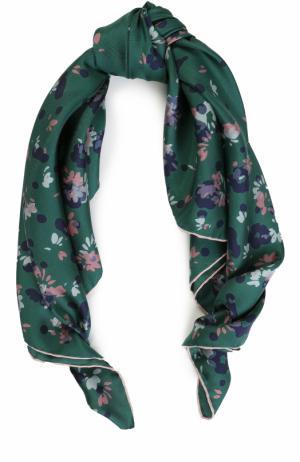 Шелковый платок с принтом Valentino. Цвет: зеленый