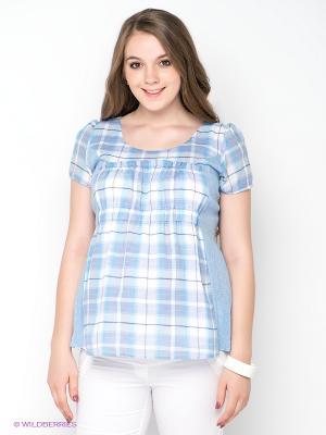 Блузка Gemko. Цвет: светло-голубой, бежевый, белый