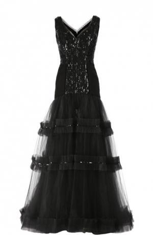 Шелковое вечернее платье с вышивкой стразами Oscar de la Renta. Цвет: черный