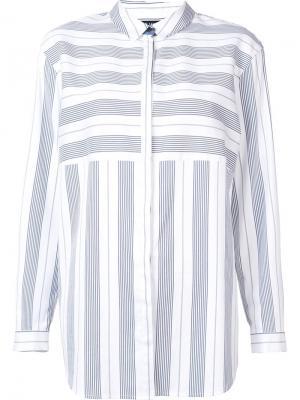 Полосатая рубашка Lafayette 148. Цвет: белый