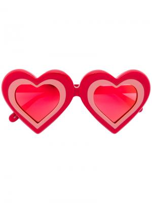 Солнцезащитные очки формы сердечки Yazbukey. Цвет: красный