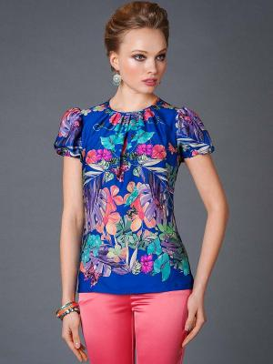 Блузка Арт-Деко. Цвет: синий
