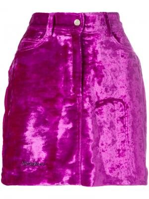 Велюровая юбка мини Misbhv. Цвет: розовый и фиолетовый