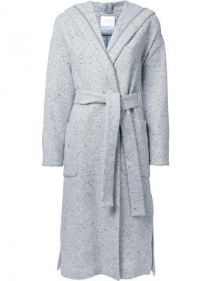 Длинное пальто с поясом Cityshop. Цвет: серый