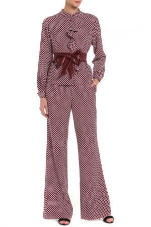 Костюм: блузка и брюки BEZKO. Цвет: бордовый