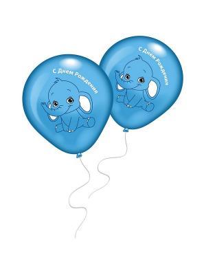 8 шариков СДР с рисунком Голубой слоненок Everts. Цвет: голубой