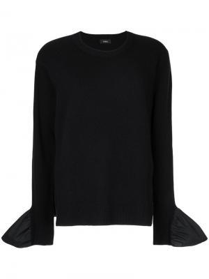 Поплиновая блузка с панельным дизайном Goen.J. Цвет: синий