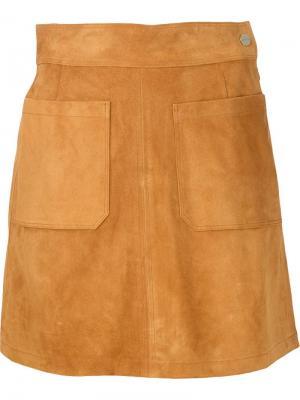 Замшевая мини-юбка Frame Denim. Цвет: коричневый