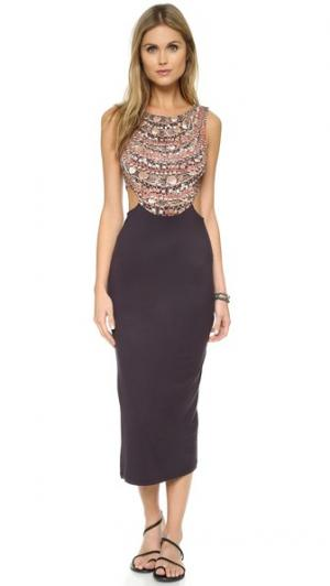 Миди-платье с овальным вырезом на спине Mara Hoffman. Цвет: голубой