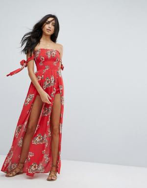 Surf Gypsy Пляжное платье макси с цветочным принтом. Цвет: красный