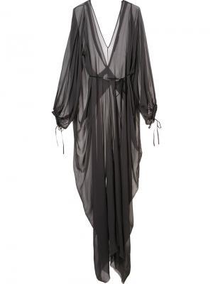 Драпированное прозрачное платье Isabel Benenato. Цвет: серый